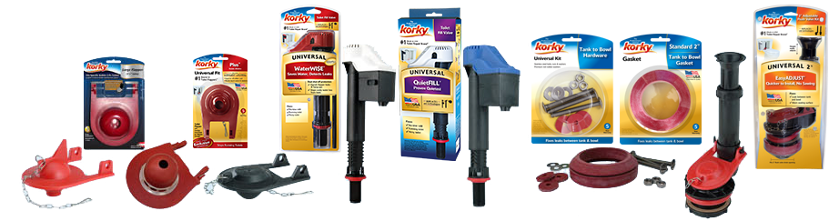 Korky made in USA toilet repair products